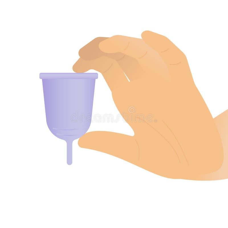 Frauenhand, die eine purpurrote Menstruationsschale - weißen Hintergrund hält vektor abbildung