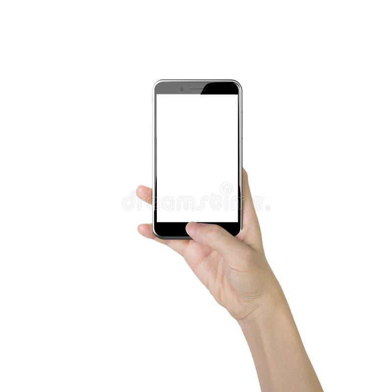 Frauenhand, die intelligentes Telefon mit dem Daumen betätigt Knopf hält stockfotografie