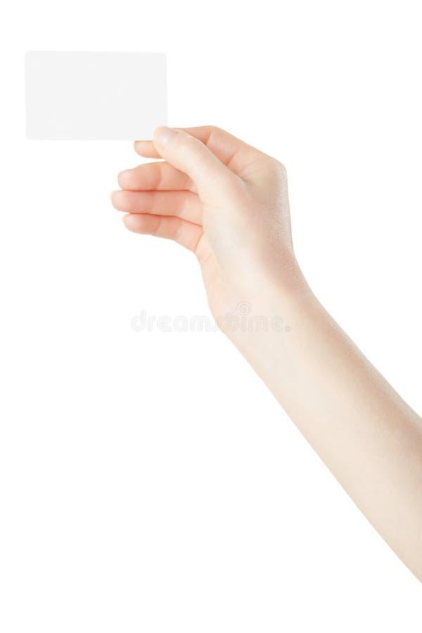 Frauenhand, die leere Karte hält stockbild