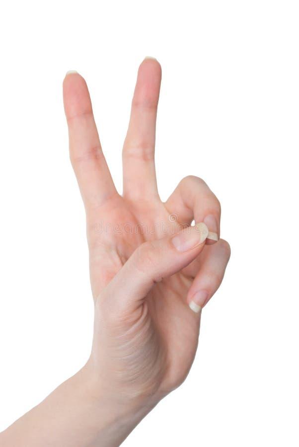 Frauenhand, die Nummer zwei oder die Sieggeste lokalisiert zeigt lizenzfreie stockbilder