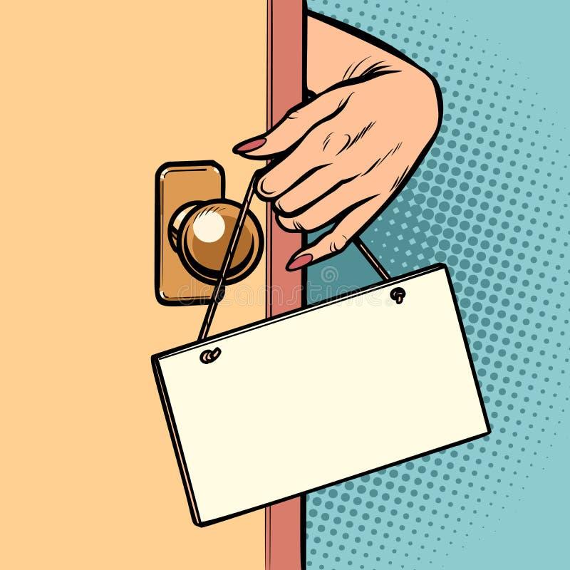 Frauenhand hängt ein Zeichen auf der Tür vektor abbildung