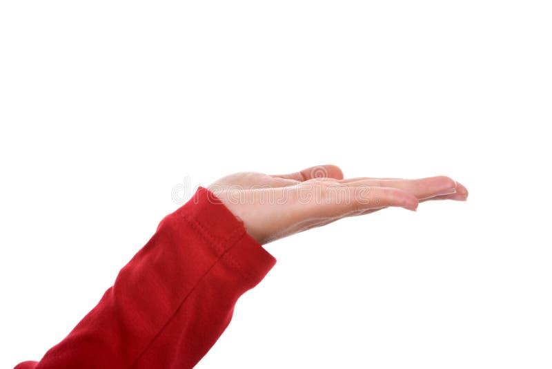 Frauenhand mit rotem Hemd stockfotografie