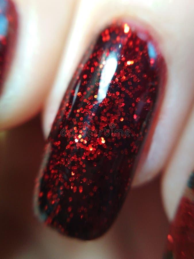 Frauenhandfingerschwarz- und rote Maniküregel-Nagellack-Musterentwurfsschönheitsmodemakrofoto stockfotografie