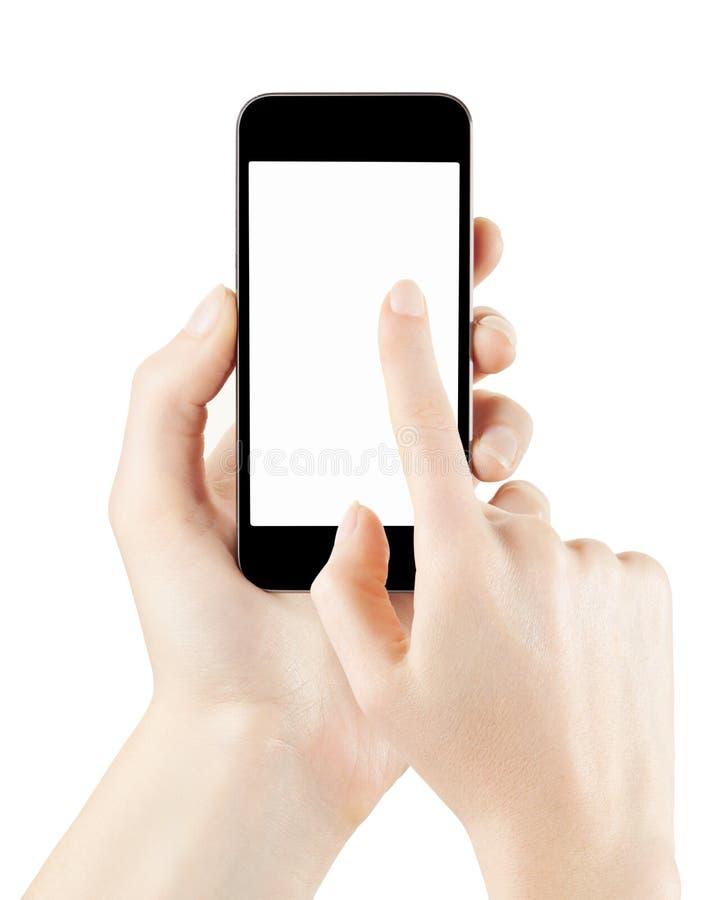 Frauenhandhalten und rührender Smartphone stockfotos