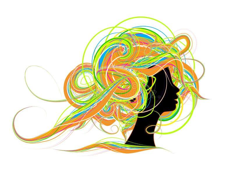 Frauenhauptschattenbild, Frisurauslegung stock abbildung