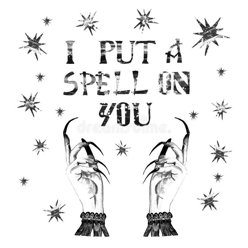 Frauenhexenhintergrund mit Sternen, Hexenhände mit langen Nägeln Halloween-Nachtdekoration für Karte, Einladungen stock abbildung