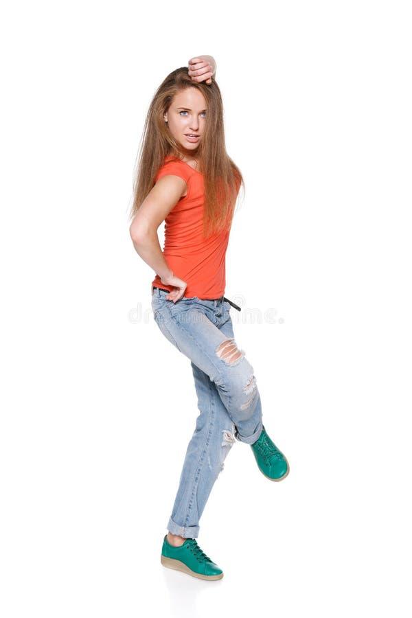 Frauenhip-hop-Tänzer über weißem Hintergrund stockbilder