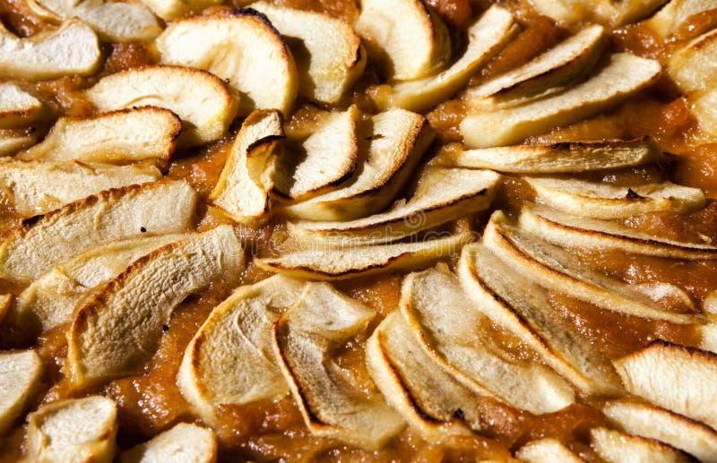 Frauenholding, die Apfelkuchen zeigt Törtchen oder Kuchen mit Stau stockfotografie