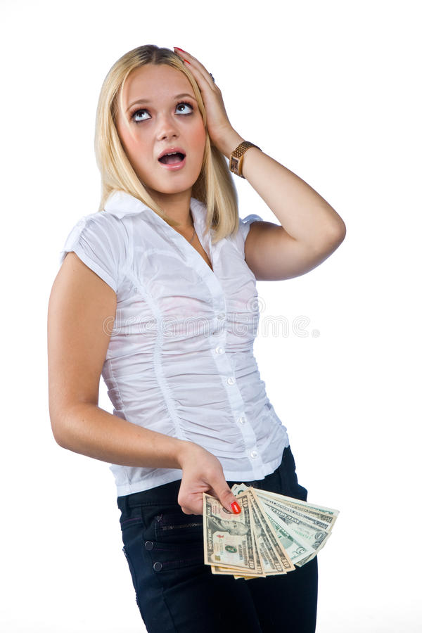 Frauenholding-Dollarscheine in ihrer Hand stockfotografie