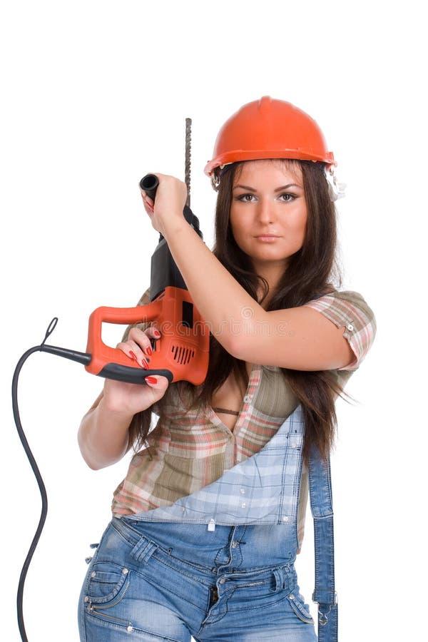 Frauenholding-Hammerbohrgerät stockbild