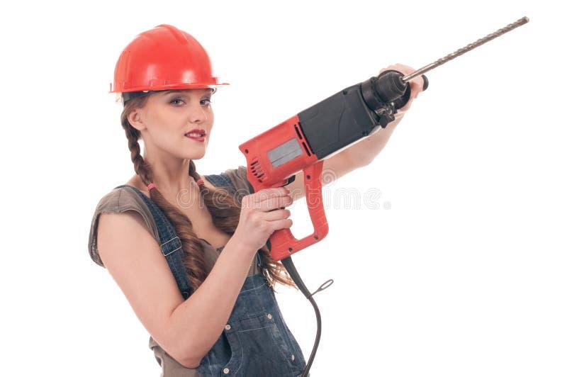Frauenholding-Perforatorbohrgerät lizenzfreie stockbilder