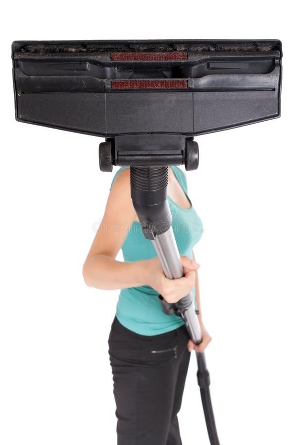 Frauenholding-Staubsauger lizenzfreies stockfoto