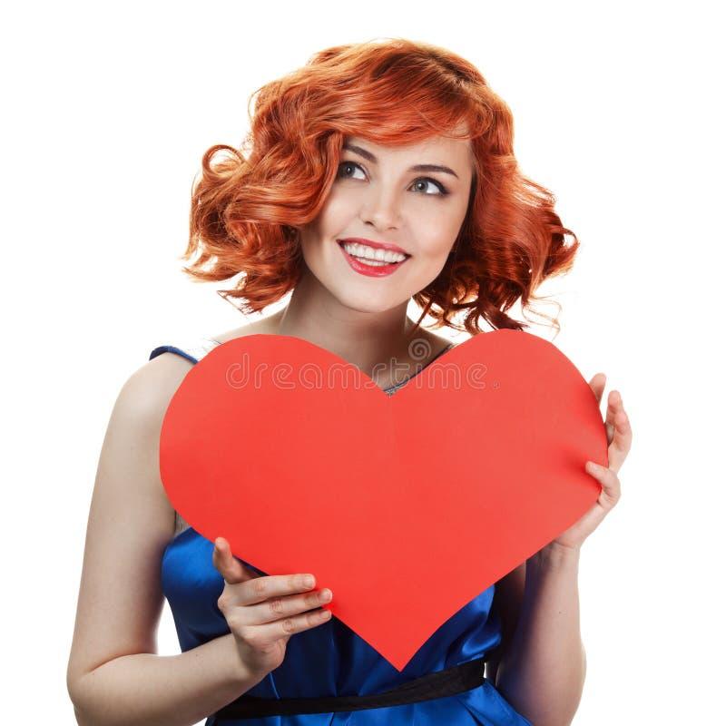 Frauenholding Valentinsgruß-Tagesinneres getrennt stockfotos