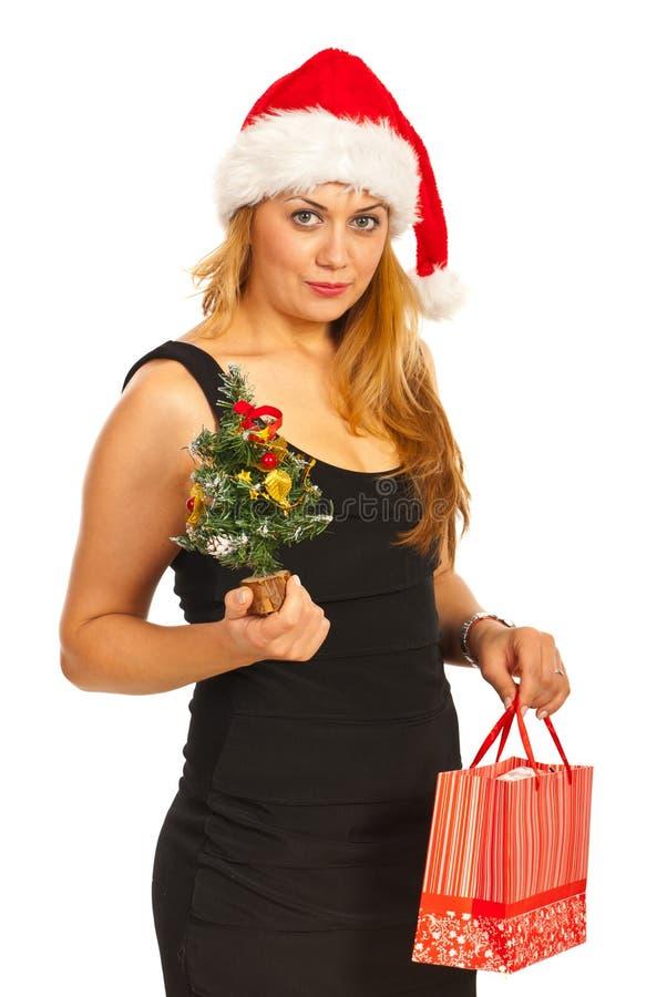 Download Frauenholding Weihnachtsbaum Und Geschenk Stockfoto - Bild von weihnachten, geben: 27733806