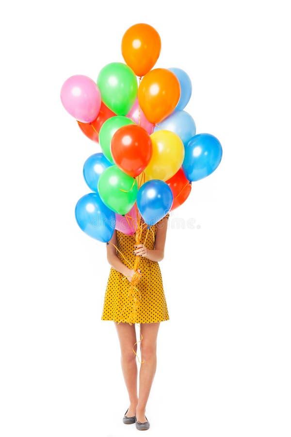 Frauenholdingballone Lizenzfreie Stockbilder