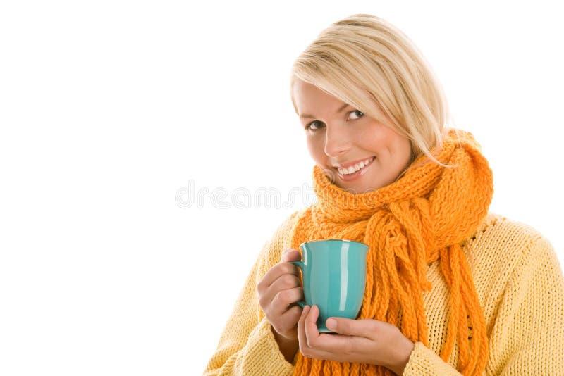 Frauenholdingbecher stockbild