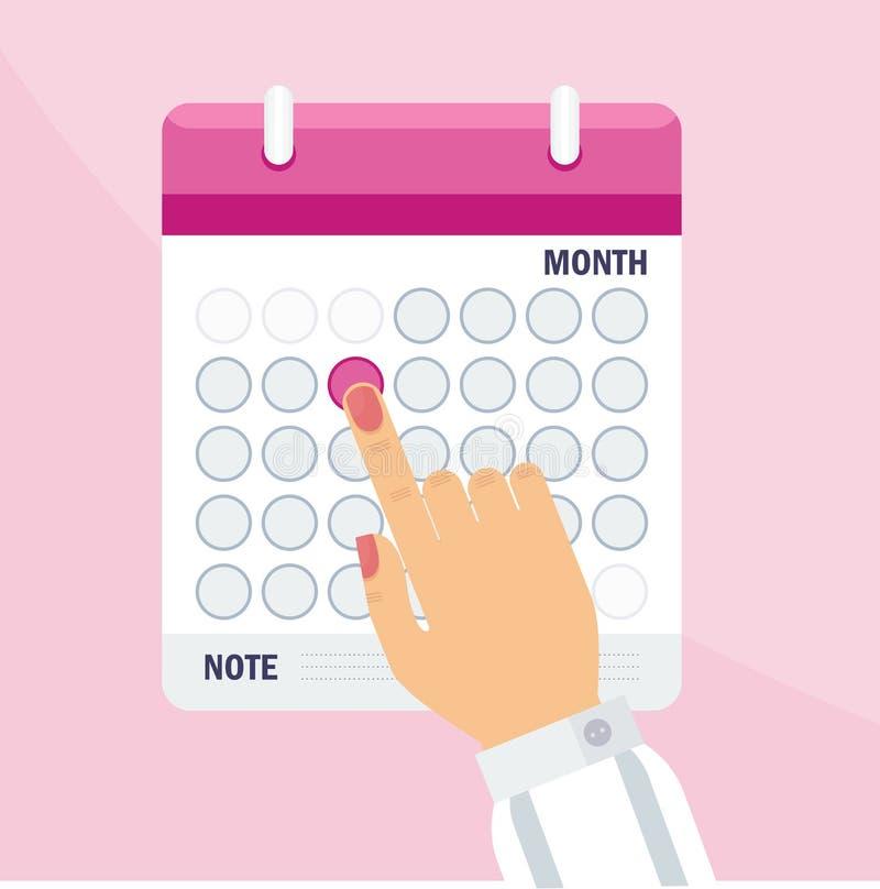 Frauenkalenderkonzept lizenzfreie abbildung