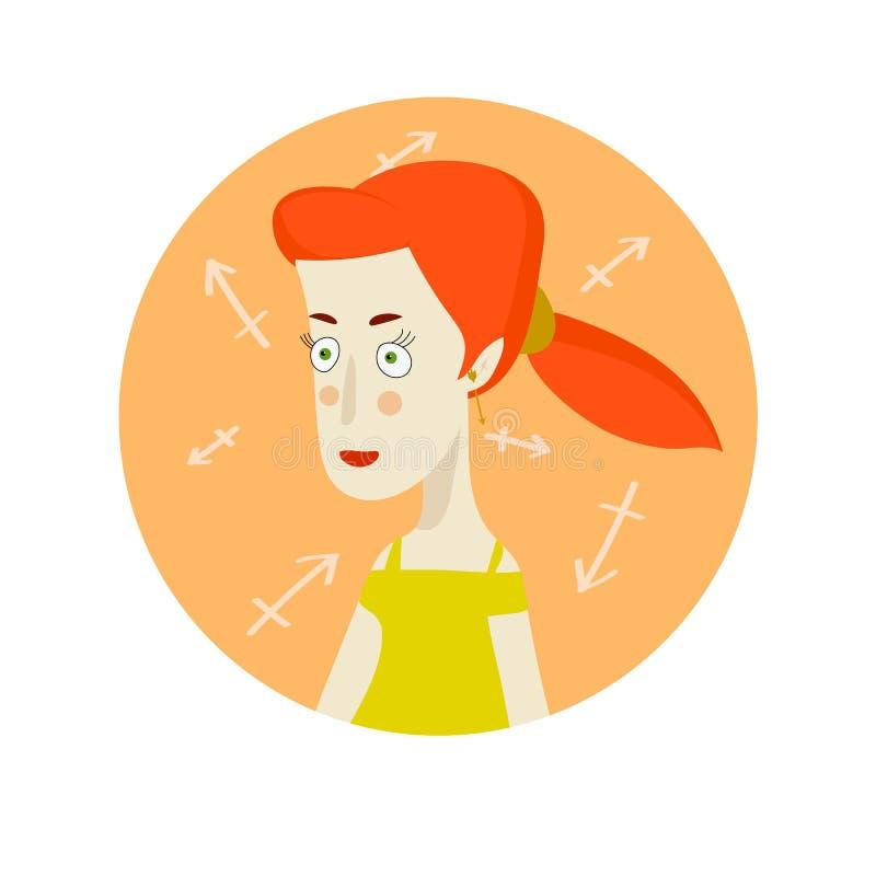 Frauenkarikaturporträt, das Saggitarius-Sternzeichen darstellt lizenzfreie abbildung