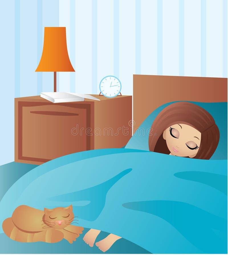 Frauenkarikaturschlaf stock abbildung