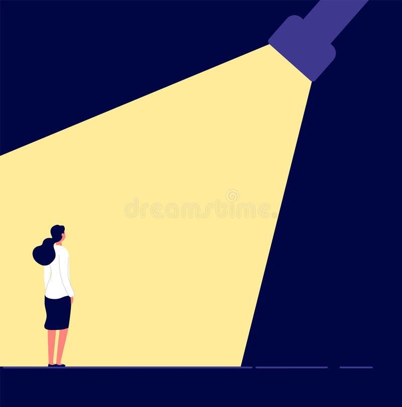 Frauenkarrierekonzept Begabte Frau in der Scheinwerferkarrieregelegenheit suchende Talente, Angestelltwählen vektor abbildung