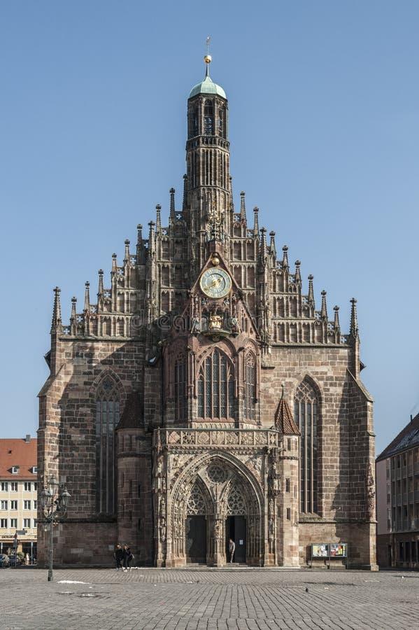 Frauenkirche εκκλησία της κυρίας μας στο κεντρικό τετράγωνο NÃ ¼ rnberg Hauptmarkt στην ιστορική πόλη της Νυρεμβέργης Νυρεμβέργη στοκ εικόνες