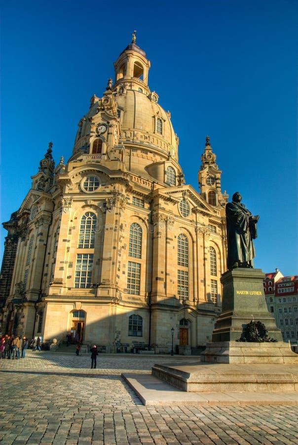 Frauenkirche bij dag royalty-vrije stock foto's
