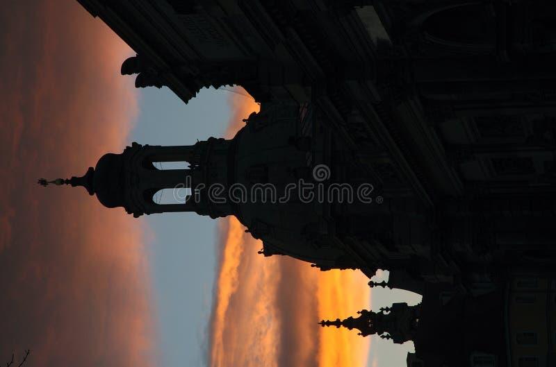 Frauenkirche bij Zonsondergang stock afbeelding