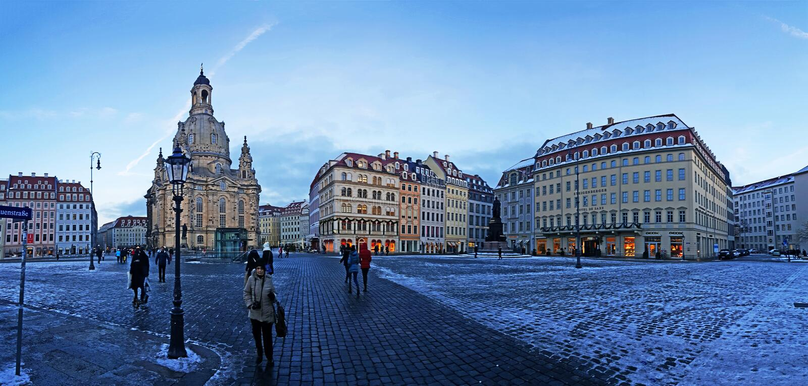 Frauenkirche cathedral with evening view of Dresden streets, buildings, churches and squares. Frauenkirche cathedral with evening view of Dresden streets royalty free stock photo