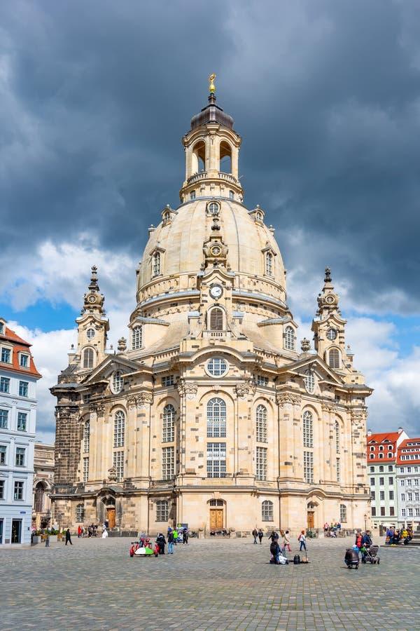 Frauenkirche Church of Our Lady on New Market Square Neumarkt, Dresden, Deutschland lizenzfreies stockfoto