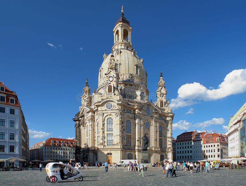 Frauenkirche in Dresden, Duitsland stock foto's