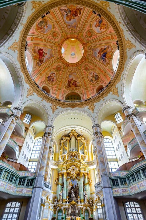 Frauenkirche, Dresden, Duitsland stock foto's