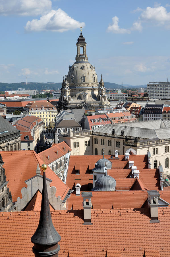 Frauenkirche and roofs, dresden. Cityscape of center dresden with the dome of our lady church that stands over city roofs, the church has been completely rebuilt royalty free stock images
