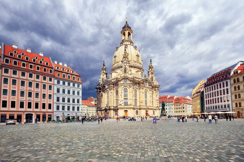Frauenkirchekerk in de oude stad van Dresden, Duitsland royalty-vrije stock fotografie