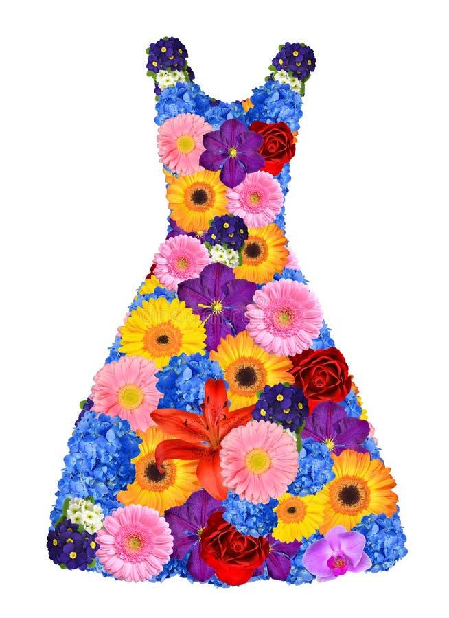 Frauenkleid von den Frühlingsblumen lizenzfreies stockbild