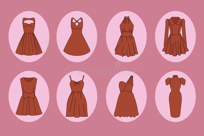 Frauenkleiderikonensatz lizenzfreie abbildung