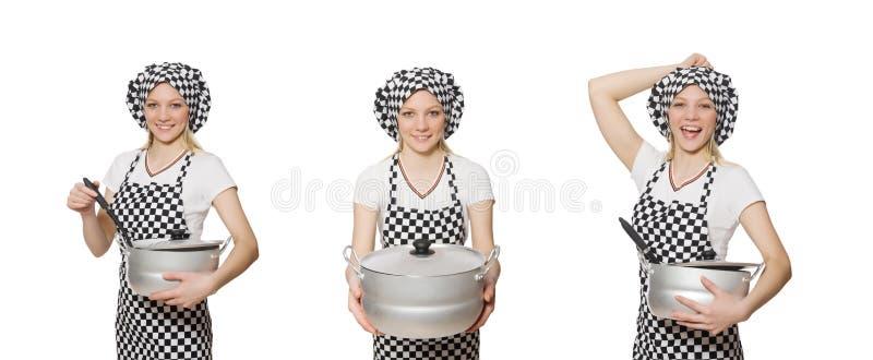Frauenkoch lokalisiert auf dem wei?en Hintergrund stockbilder