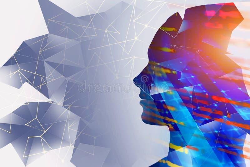 Frauenkopf, AI und Maschinenlernkonzept vektor abbildung