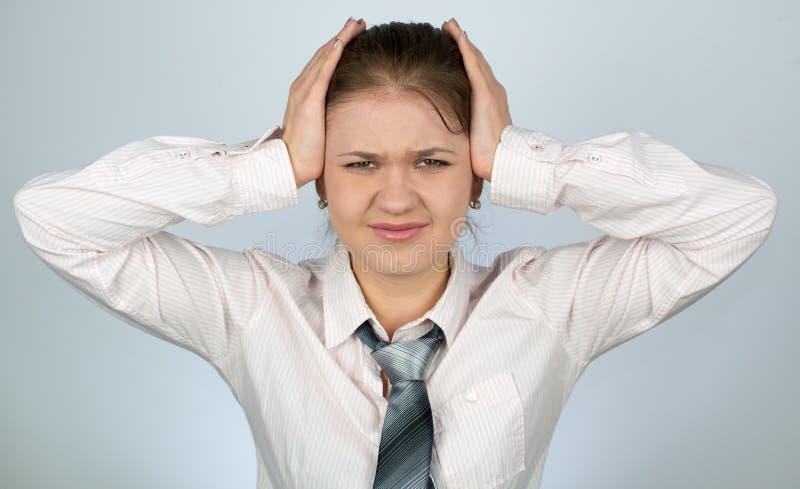 Frauenkopfschmerzen stockfotos