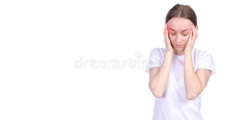Frauenkopfschmerzendruck lizenzfreies stockfoto