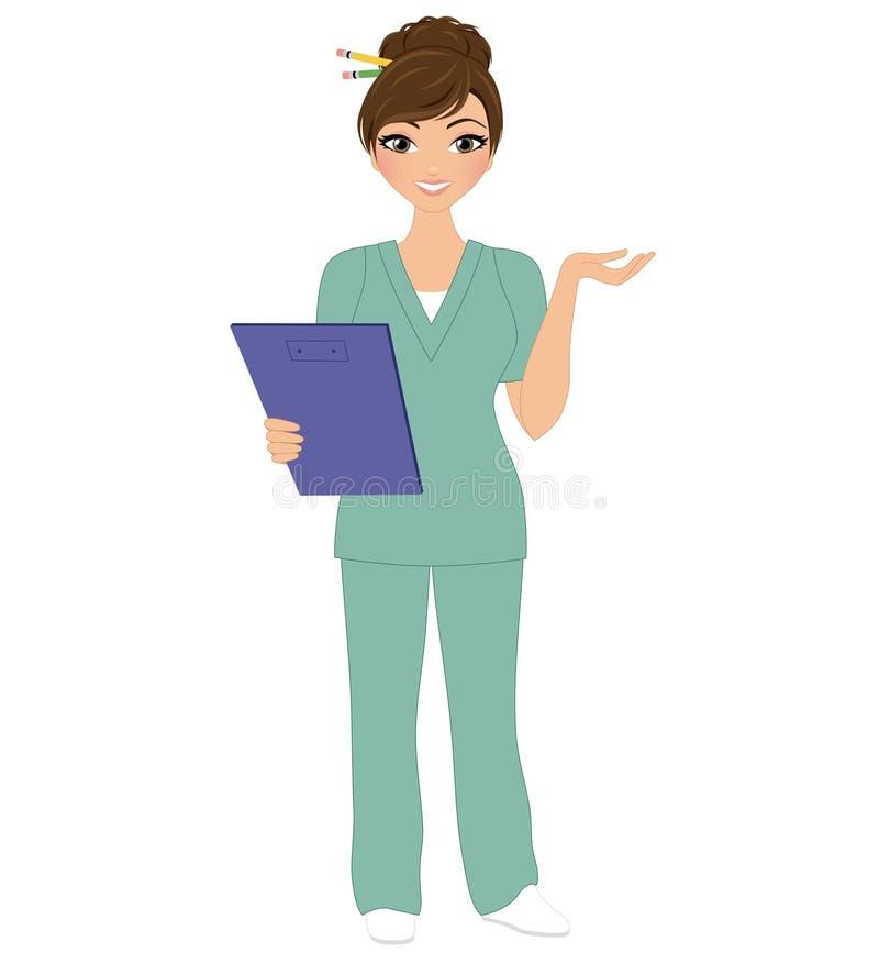 Frauenkrankenschwesterhaltung vektor abbildung