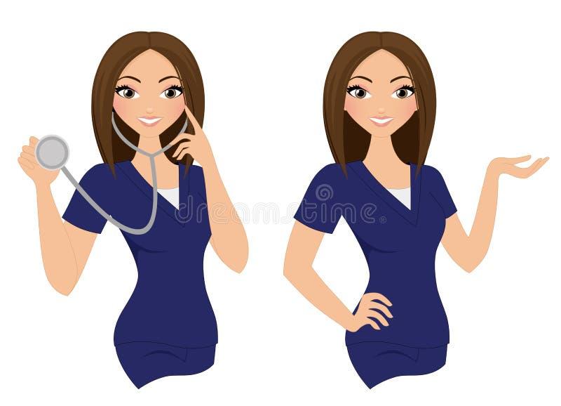 Frauenkrankenschwestersatz stock abbildung