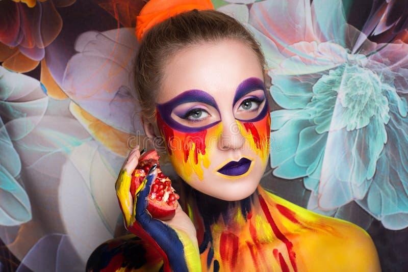 Frauenkunstmalerei stockfotografie