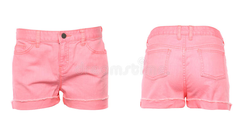 Frauenkurze jeanshose. Front. Rückseite. lizenzfreies stockfoto