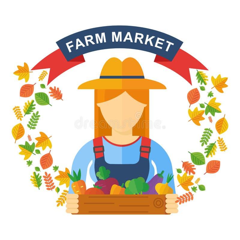 Frauenlandwirt, der Holzkiste mit Obst und Gemüse hält lizenzfreie abbildung
