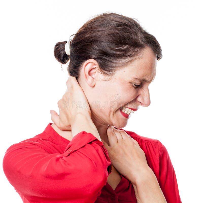 Frauenleiden und rührender Hals mit den Händen, um sich zu entspannen lizenzfreie stockfotos