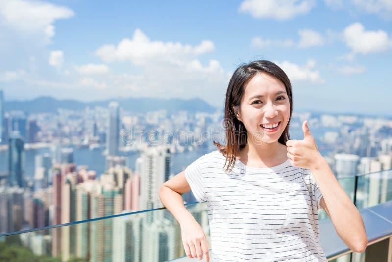 Frauenliebe zum Besuchen in Hong Kong lizenzfreies stockbild