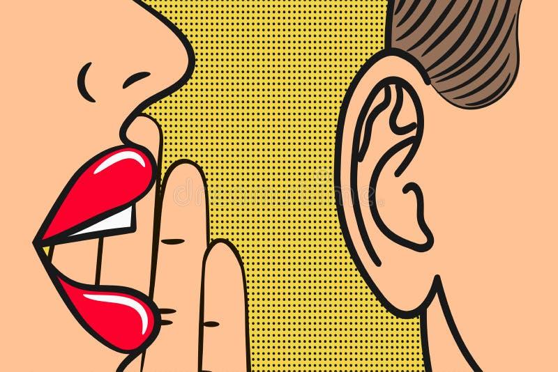 Frauenlippen mit der Hand, die herein flüstert, bemannt Ohr mit Spracheblase Pop-Arten-Art, Comic-Buch-Illustration Geheimnisse u lizenzfreie abbildung