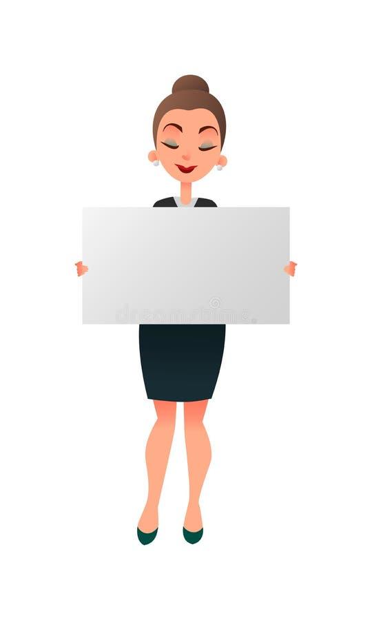 Frauenmanager oder -lehrer, die ein weißes Brett gegen weißen Hintergrund halten Geschäftsfrau hält ein horizontales Plakat Lekto vektor abbildung