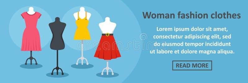 Frauenmode kleidet horizontales Konzept der Fahne vektor abbildung