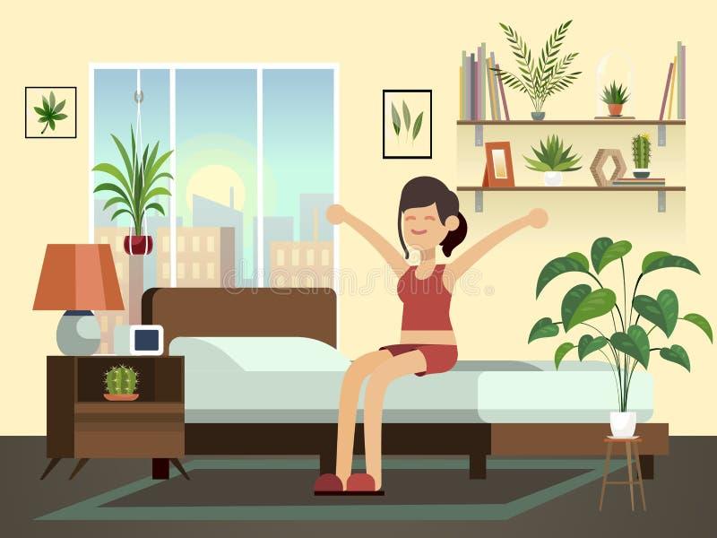 Frauenmorgen Junge gesunde weckende Person des gl?cklichen Spa?es in Schlafzimmervektor-Karikaturillustration des Betts sich ents lizenzfreie abbildung